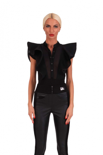 Poplin bodysuit with rufles