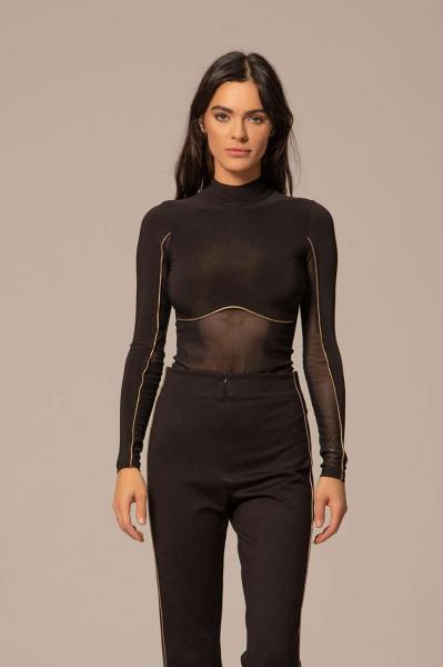 Women's black V-neck bodysuit