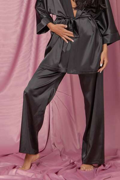 Black satin pants