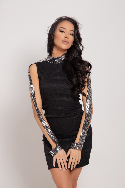Fitted dress with sequins