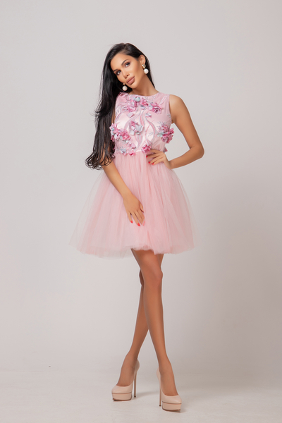 Dress with hand sewing flowers