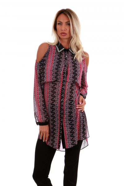 Bordo Chiffon  Casual  Shirt