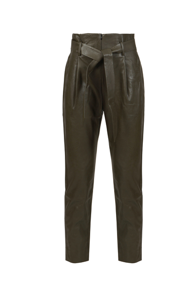 Leather trousers with belt