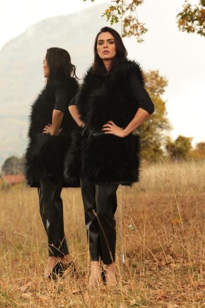 Belted faux fur vest