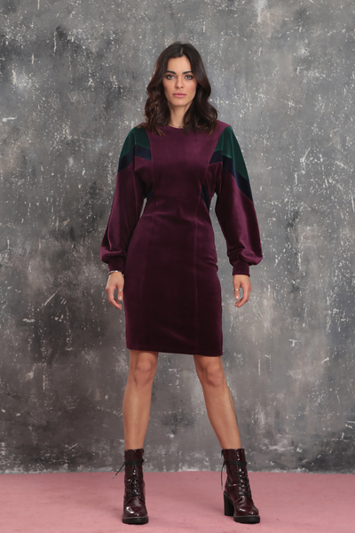 Multicolor velvet dress