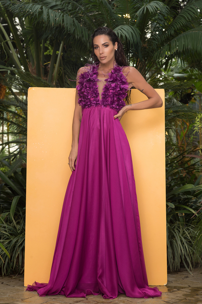 Elegant Dress Purple Flower