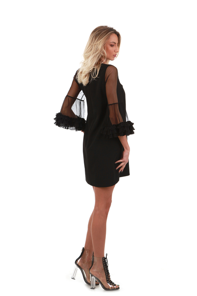 Black dress with mesh pieces