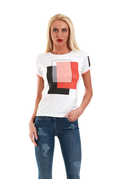 T-shirt with orange print