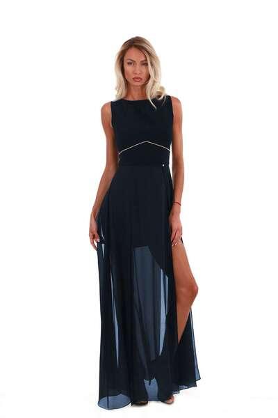 Blue veil chiffon dress