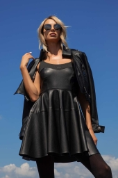 Leather dress with thin straps